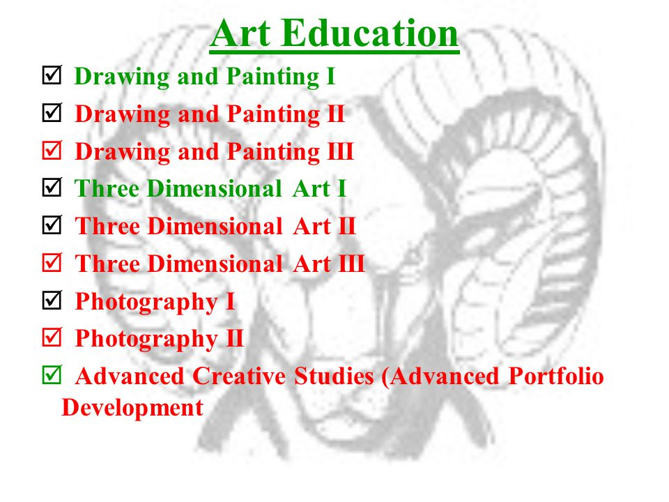 Art Education  Drawing and Painting I  Drawing and Painting II  Drawing and Painting III  Three Dimensional Art I  Three Dimensional Art II  Three Dimensional Art III  Photography I  Photography II  Advanced Creative Studies (Advanced Portfolio Development
