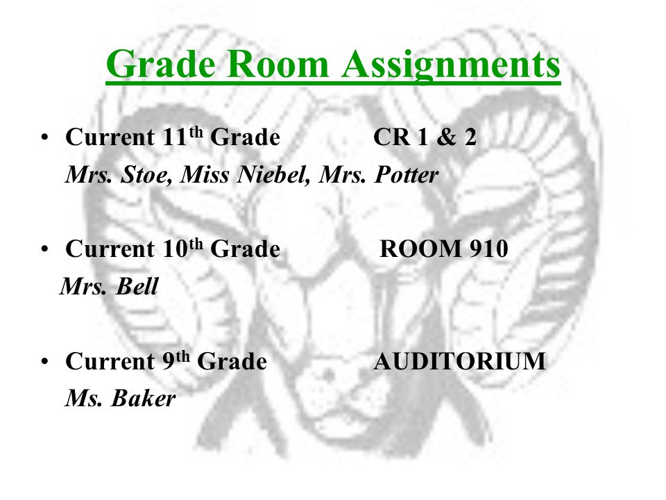 Grade Room Assignments Current 11 th GradeCR 1 & 2 Mrs.