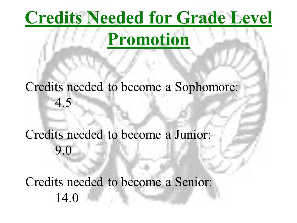 Credits Needed for Grade Level Promotion Credits needed to become a Sophomore: 4.5 Credits needed to become a Junior: 9.0 Credits needed to become a Senior: 14.0
