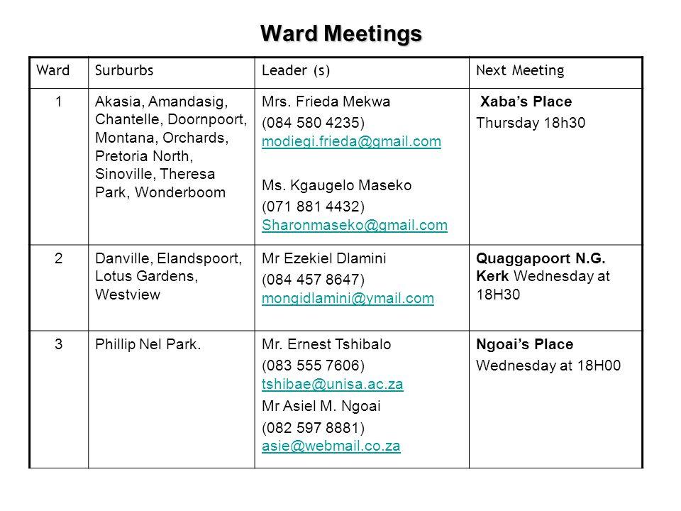 WardSurburbsLeader (s)Next Meeting 1Akasia, Amandasig, Chantelle, Doornpoort, Montana, Orchards, Pretoria North, Sinoville, Theresa Park, Wonderboom Mrs.