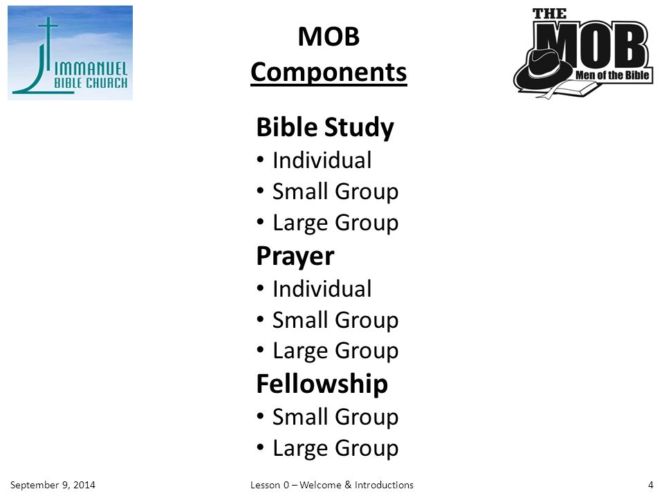 Before TuesdayIndividual Prayer & Study; Small Group activities encouraged 6:15 – 6:45 PMLeaders' Prayer and Preparation Meeting (Choir/Seminar Room W102) 6:45 – 7:15 PM Food & Fellowship (Choir/Seminar Room W102) 7:15 – 7:45 PM Large Group Meeting (Choir/Seminar Room W102) 7:45 – 8:45 PM Small Group Meetings (Assigned Rooms – see handout) The Host Small Group designated for each meeting above is responsible for providing light refreshments (snacks), leading the large group session, and providing 3-5 relevant men's application questions for that week's Scripture passage and associated lesson.
