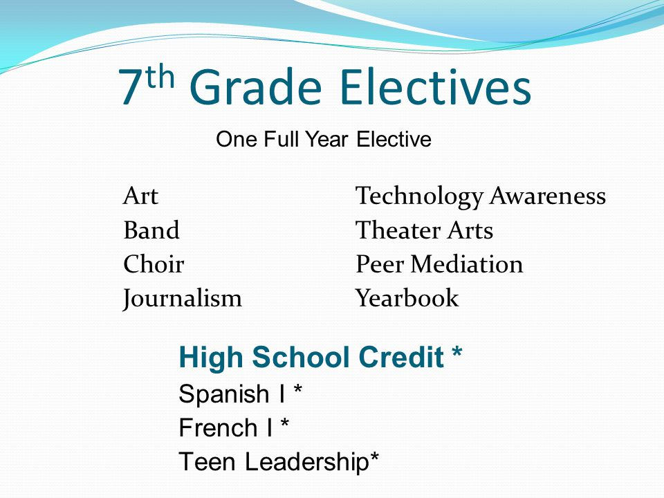 7 th Grade Electives ArtTechnology Awareness BandTheater Arts ChoirPeer Mediation JournalismYearbook High School Credit * Spanish I * French I * Teen Leadership* One Full Year Elective