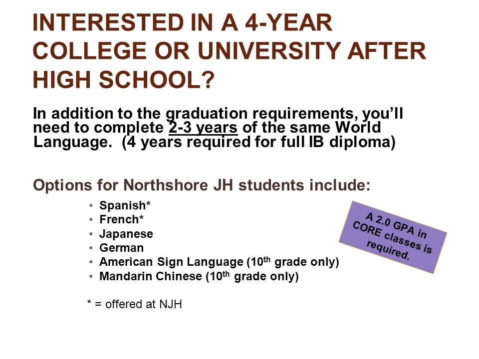 INTERESTED IN A 4-YEAR COLLEGE OR UNIVERSITY AFTER HIGH SCHOOL.