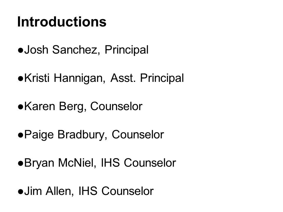 Introductions ●Josh Sanchez, Principal ●Kristi Hannigan, Asst.