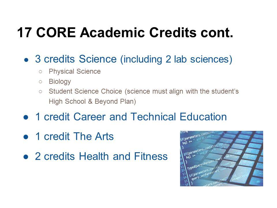 17 CORE Academic Credits cont.