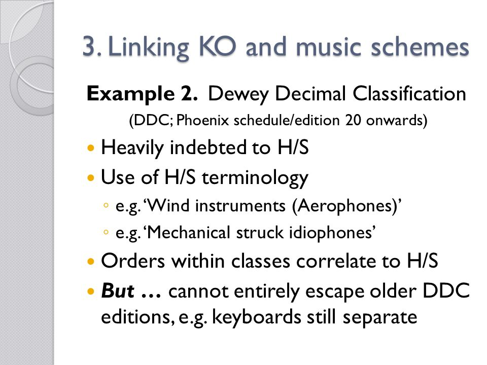 3. Linking KO and music schemes Example 2.