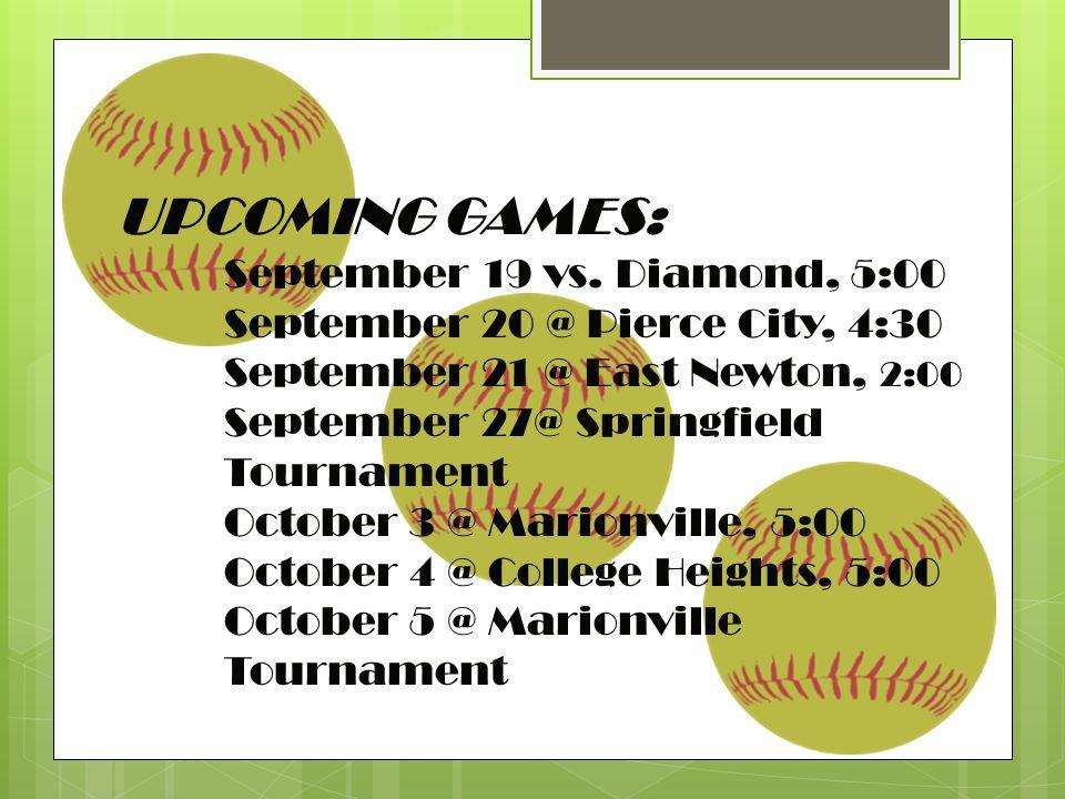 UPCOMING GAMES: September 19 vs.