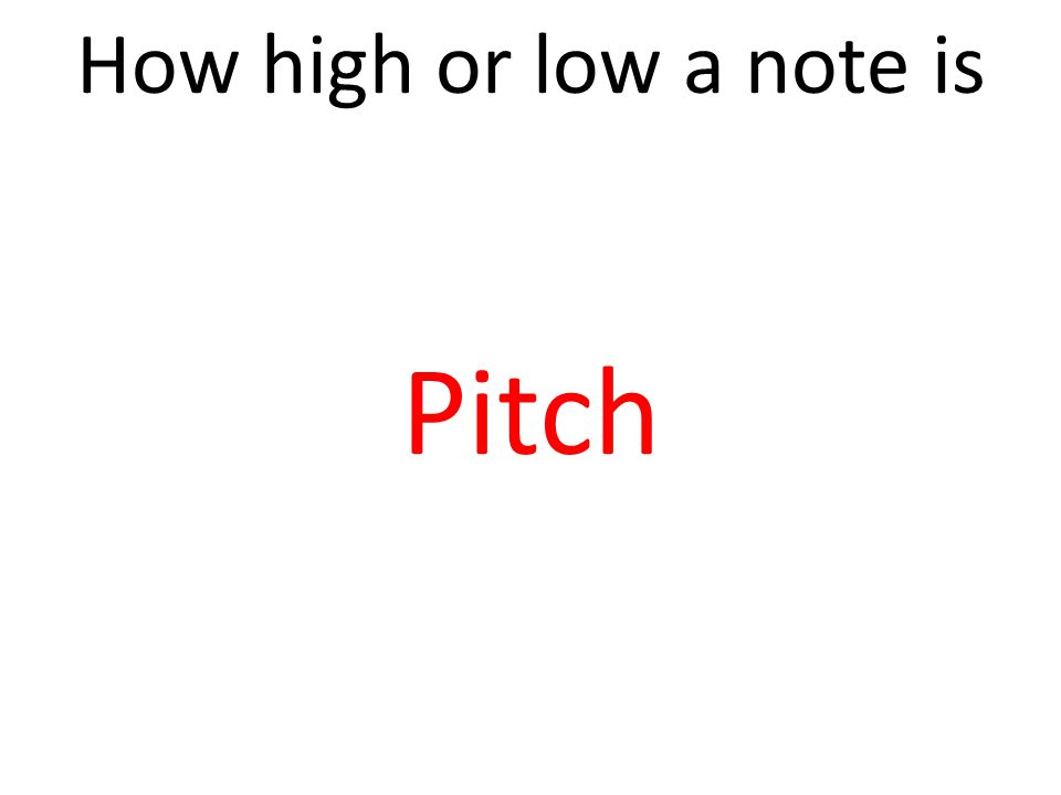 How high or low a note is Pitch