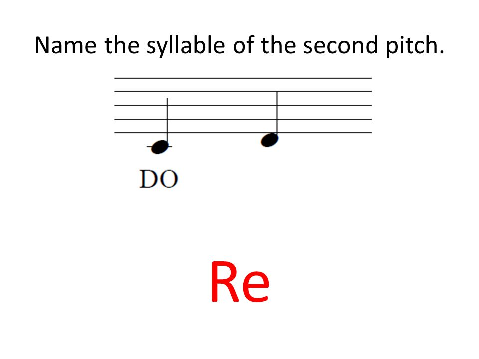 Name the syllable of the second pitch. Re