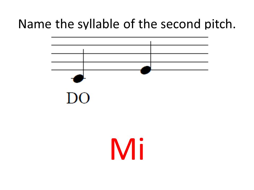 Name the syllable of the second pitch. Mi