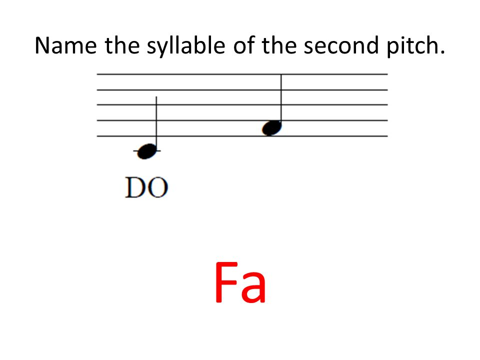 Name the syllable of the second pitch. Fa