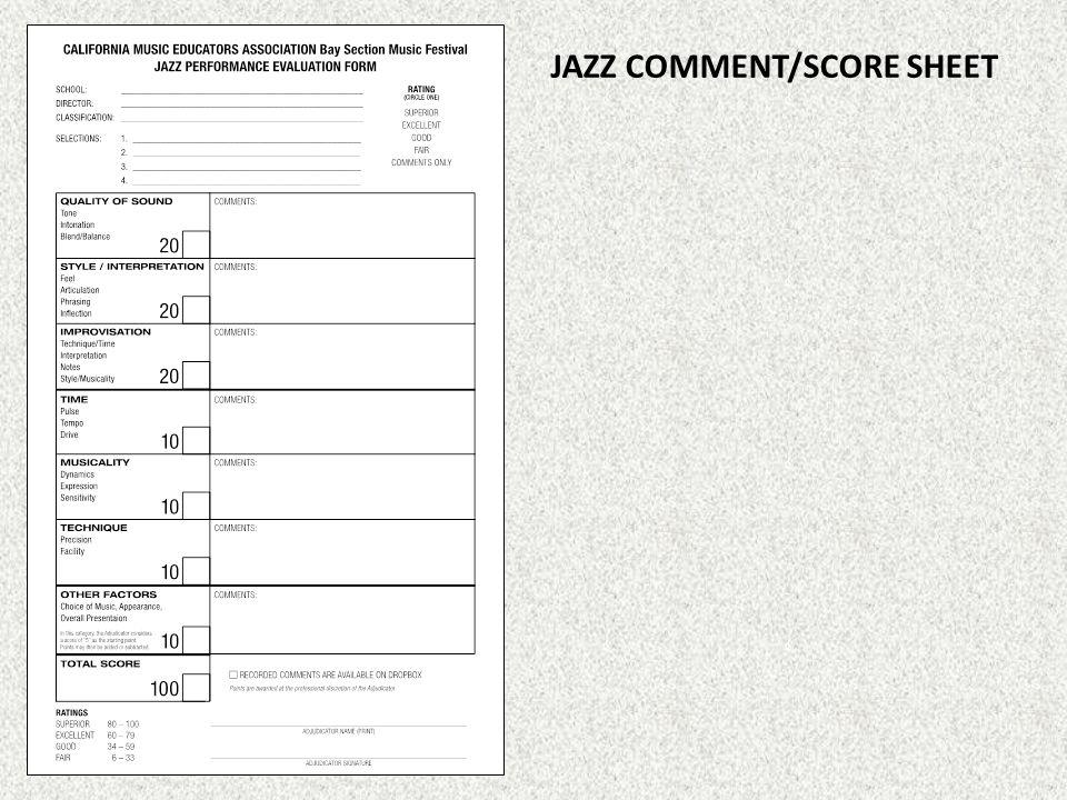 JAZZ COMMENT/SCORE SHEET