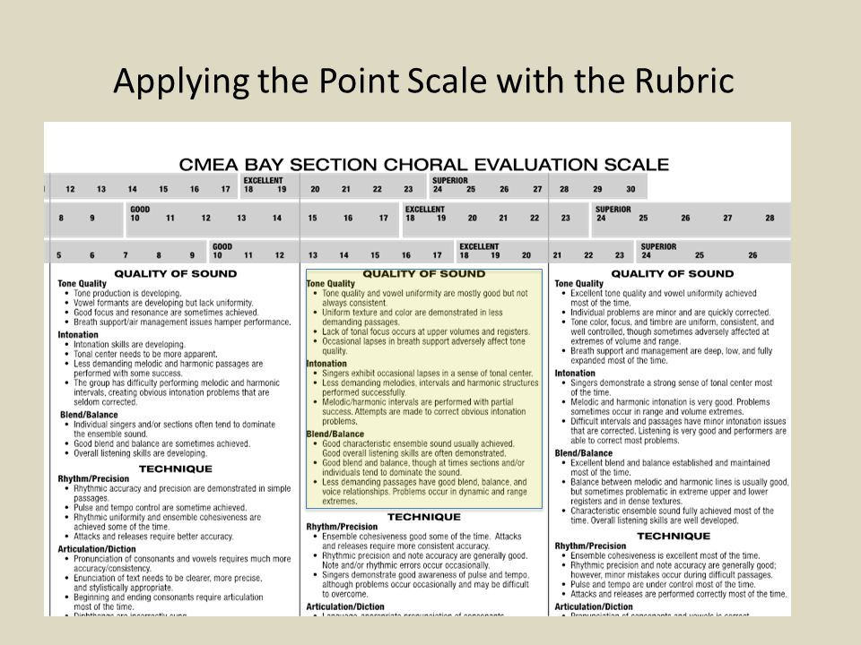 Applying the Point Scale with the Rubric