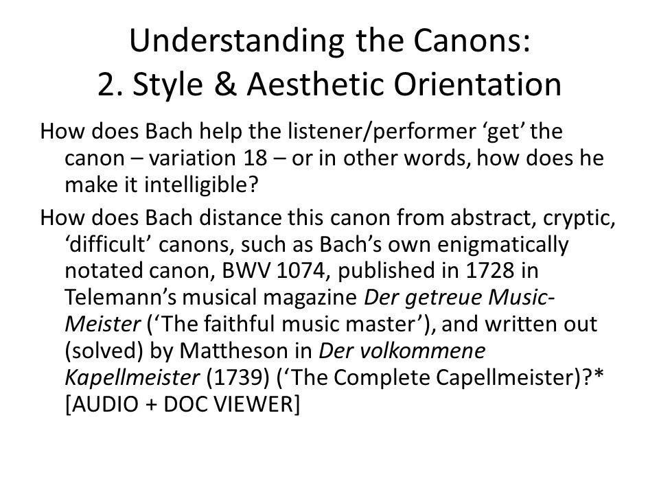 Understanding the Canons: 2.