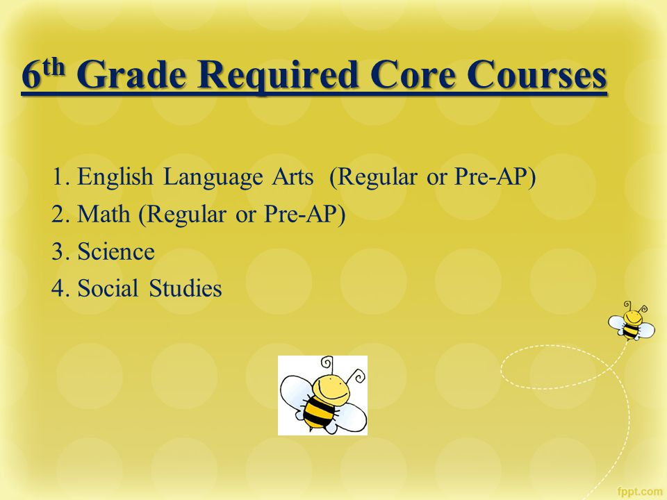 6 th Grade Required Core Courses 1. English Language Arts (Regular or Pre-AP) 2. Math (Regular or Pre-AP) 3. Science 4. Social Studies
