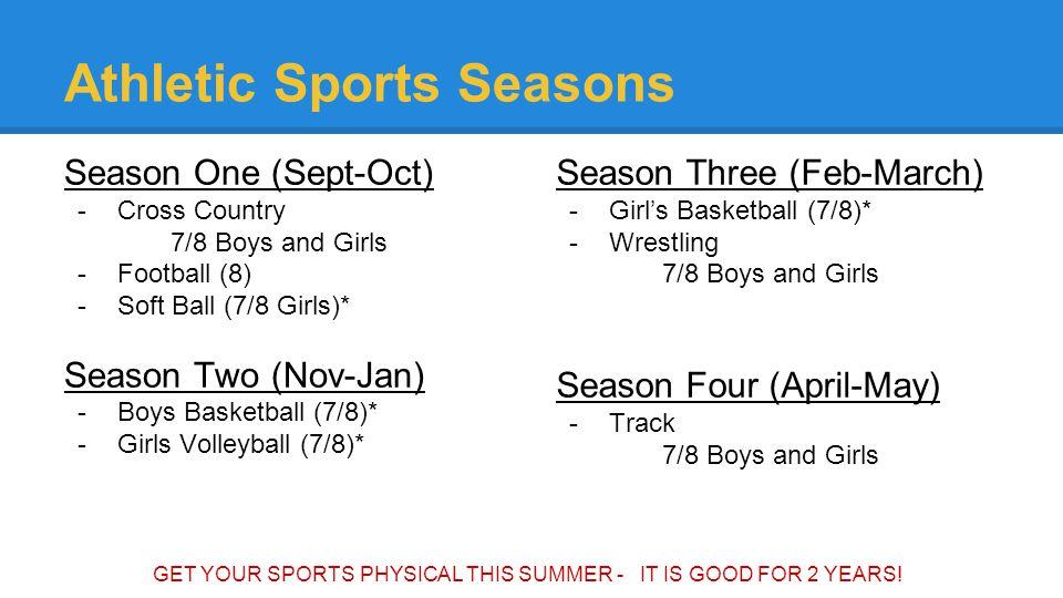 Athletic Sports Seasons Season One (Sept-Oct) -Cross Country 7/8 Boys and Girls -Football (8) -Soft Ball (7/8 Girls)* Season Two (Nov-Jan) -Boys Baske
