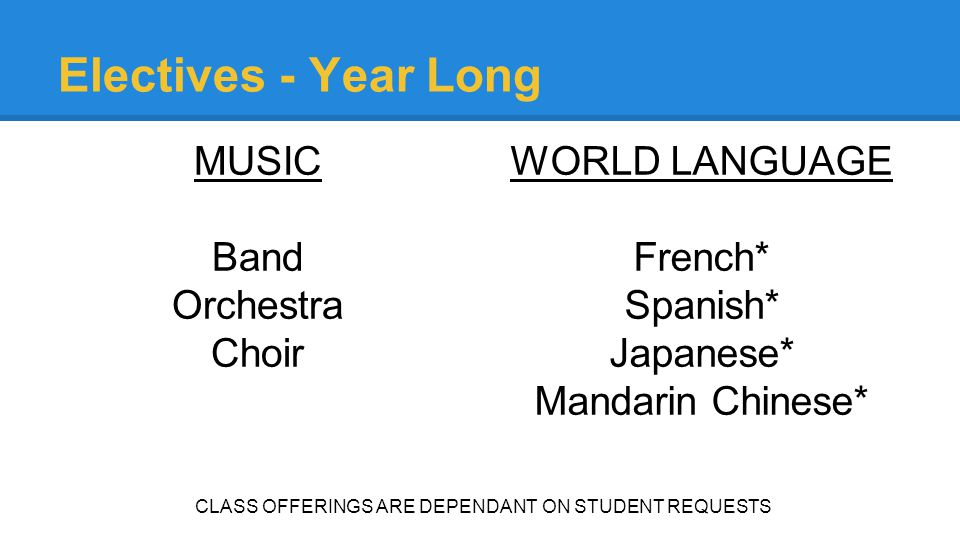 Electives - Year Long MUSIC Band Orchestra Choir WORLD LANGUAGE French* Spanish* Japanese* Mandarin Chinese* CLASS OFFERINGS ARE DEPENDANT ON STUDENT