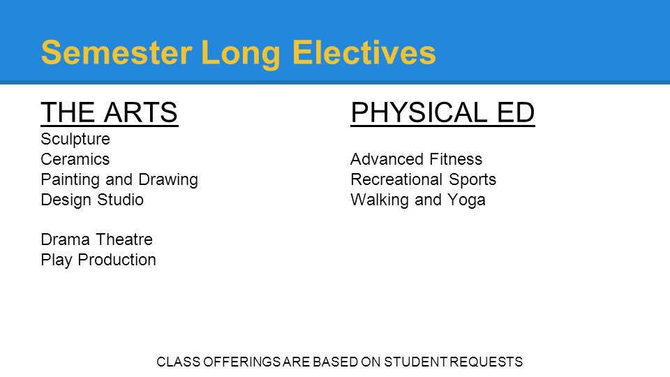 Semester Long Electives THE ARTS Sculpture Ceramics Painting and Drawing Design Studio Drama Theatre Play Production PHYSICAL ED Advanced Fitness Recr