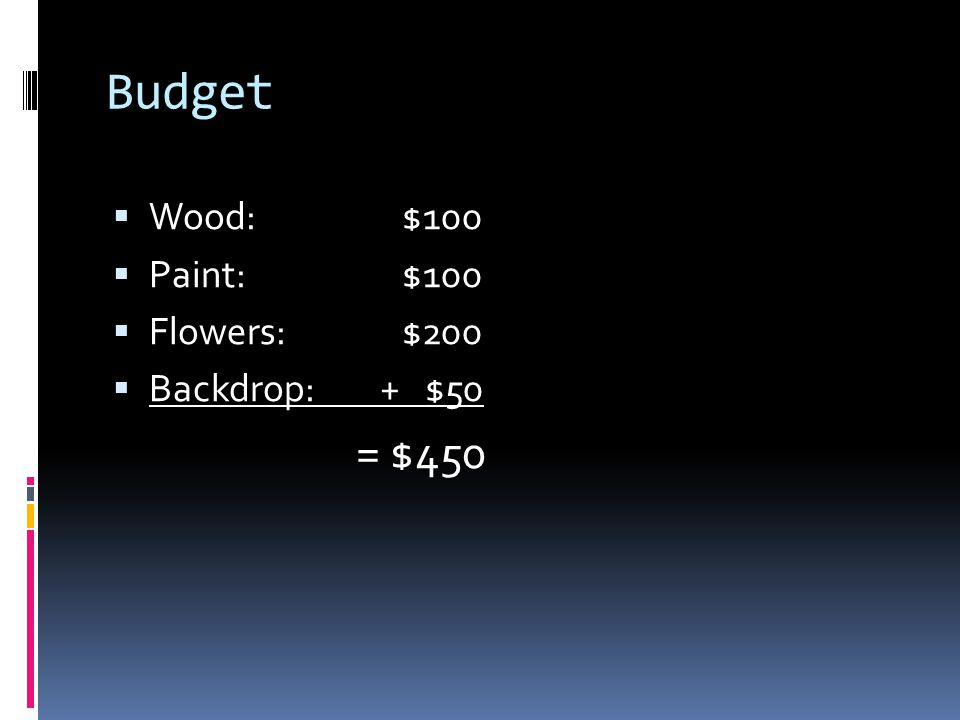 Budget  Wood: $100  Paint: $100  Flowers: $200  Backdrop: + $50 = $450