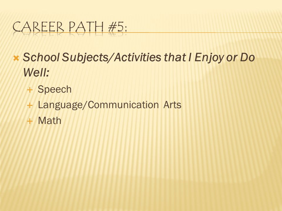  School Subjects/Activities that I Enjoy or Do Well:  Speech  Language/Communication Arts  Math