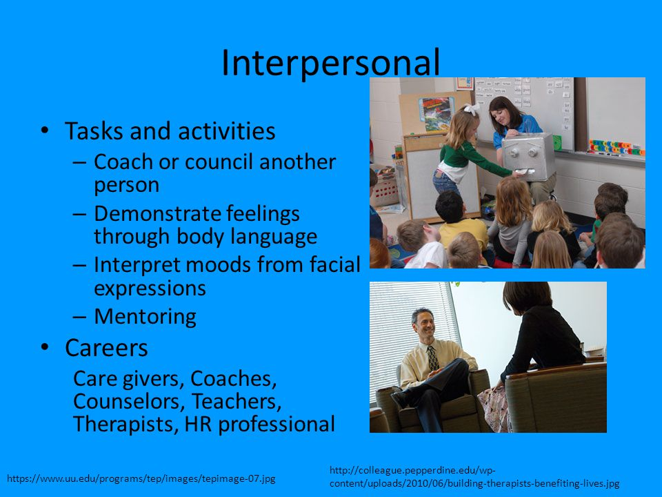 Interpersonal Tasks and activities – Coach or council another person – Demonstrate feelings through body language – Interpret moods from facial expres