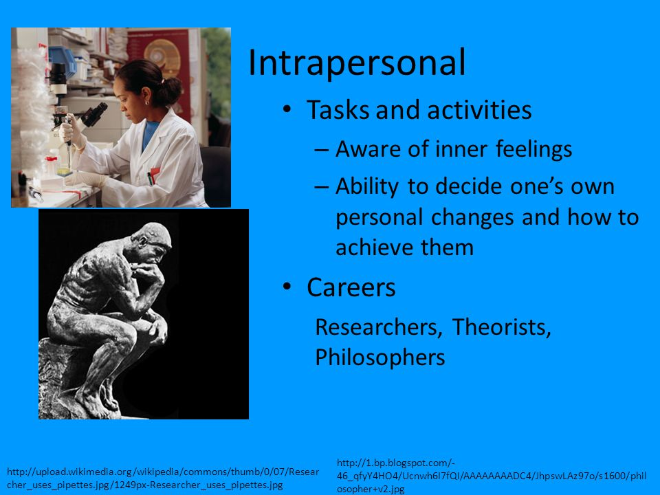 Intrapersonal Tasks and activities – Aware of inner feelings – Ability to decide one's own personal changes and how to achieve them Careers Researcher