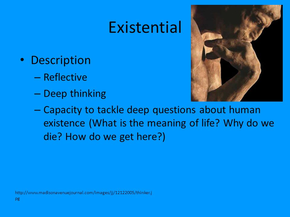 Existential Description – Reflective – Deep thinking – Capacity to tackle deep questions about human existence (What is the meaning of life? Why do we
