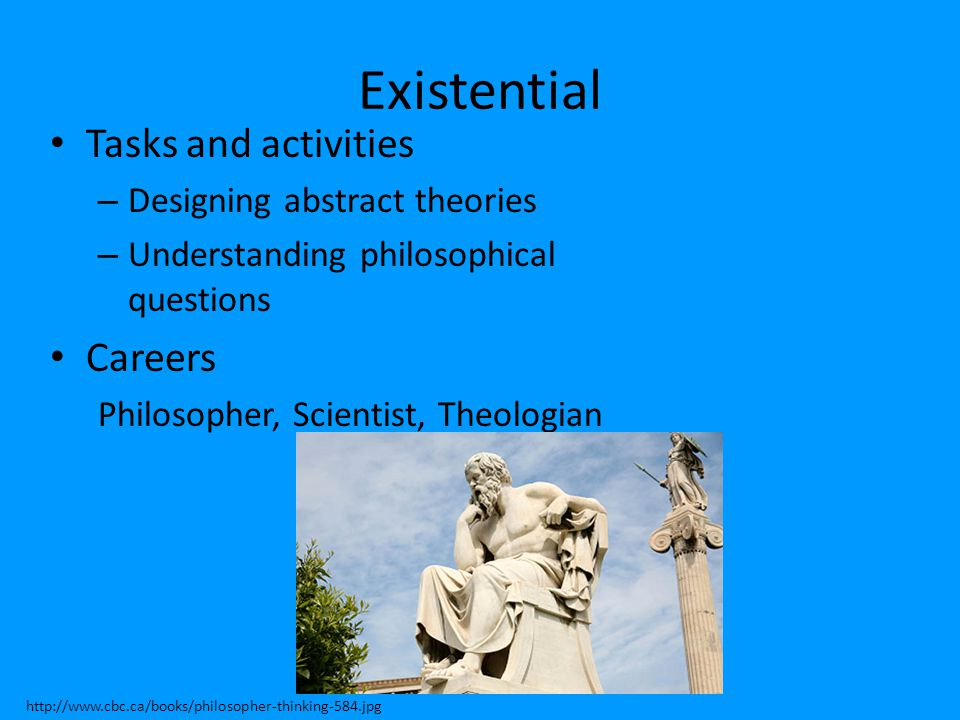 Existential Tasks and activities – Designing abstract theories – Understanding philosophical questions Careers Philosopher, Scientist, Theologian http