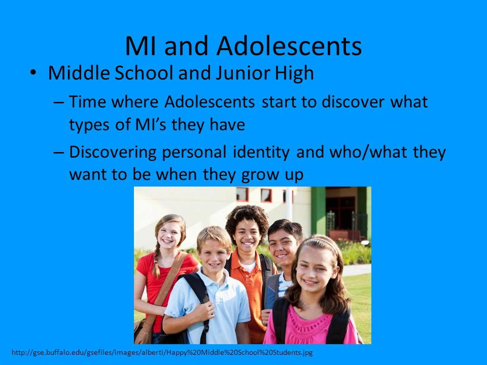 MI and Adolescents Middle School and Junior High – Time where Adolescents start to discover what types of MI's they have – Discovering personal identi