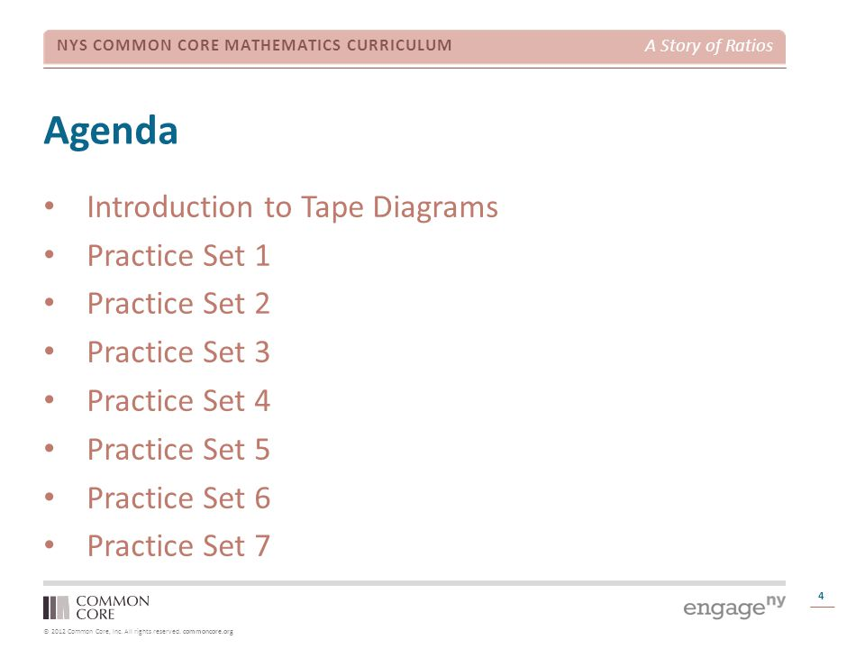 © 2012 Common Core, Inc. All rights reserved. commoncore.org NYS COMMON CORE MATHEMATICS CURRICULUM A Story of Ratios Agenda 4 Introduction to Tape Di