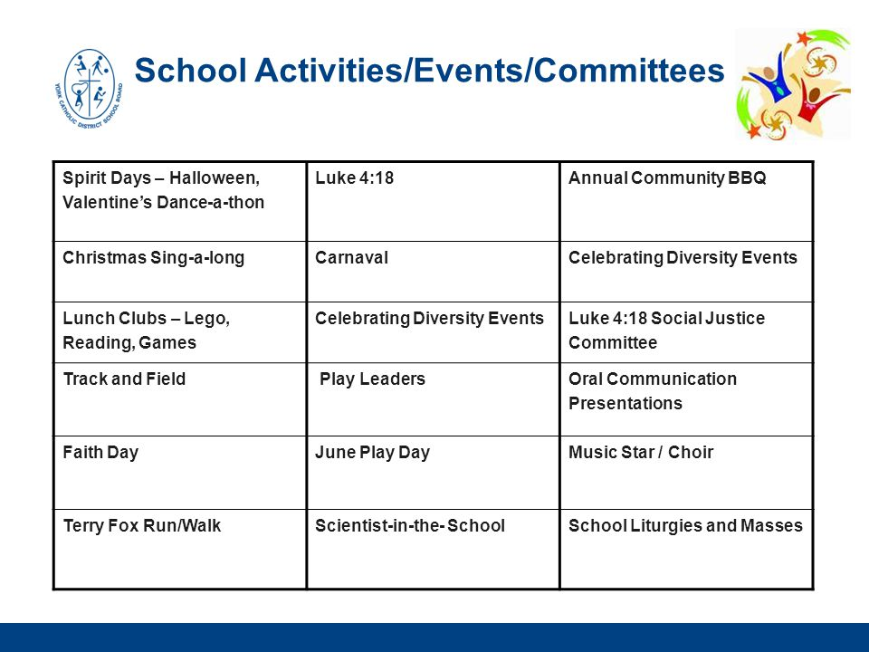 School Activities/Events/Committees Spirit Days – Halloween, Valentine's Dance-a-thon Luke 4:18 Annual Community BBQ Christmas Sing-a-longCarnavalCele