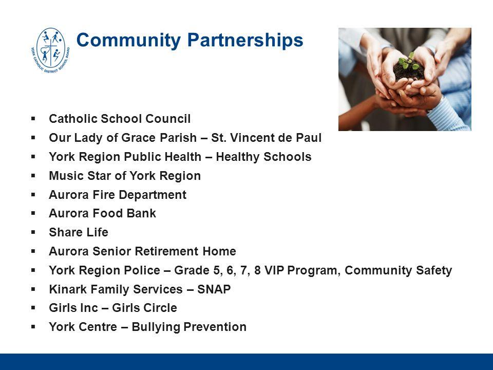 Community Partnerships  Catholic School Council  Our Lady of Grace Parish – St. Vincent de Paul  York Region Public Health – Healthy Schools  Musi