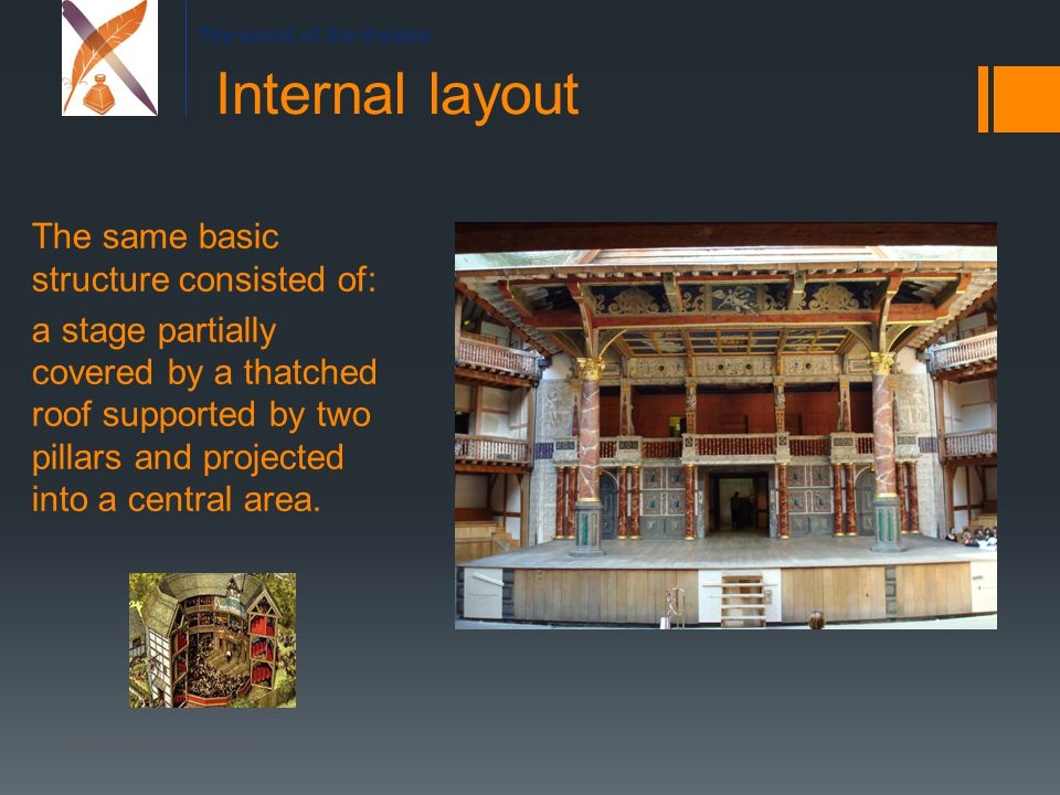 The world of the theatre The same basic structure consisted of: a stage partially covered by a thatched roof supported by two pillars and projected into a central area.