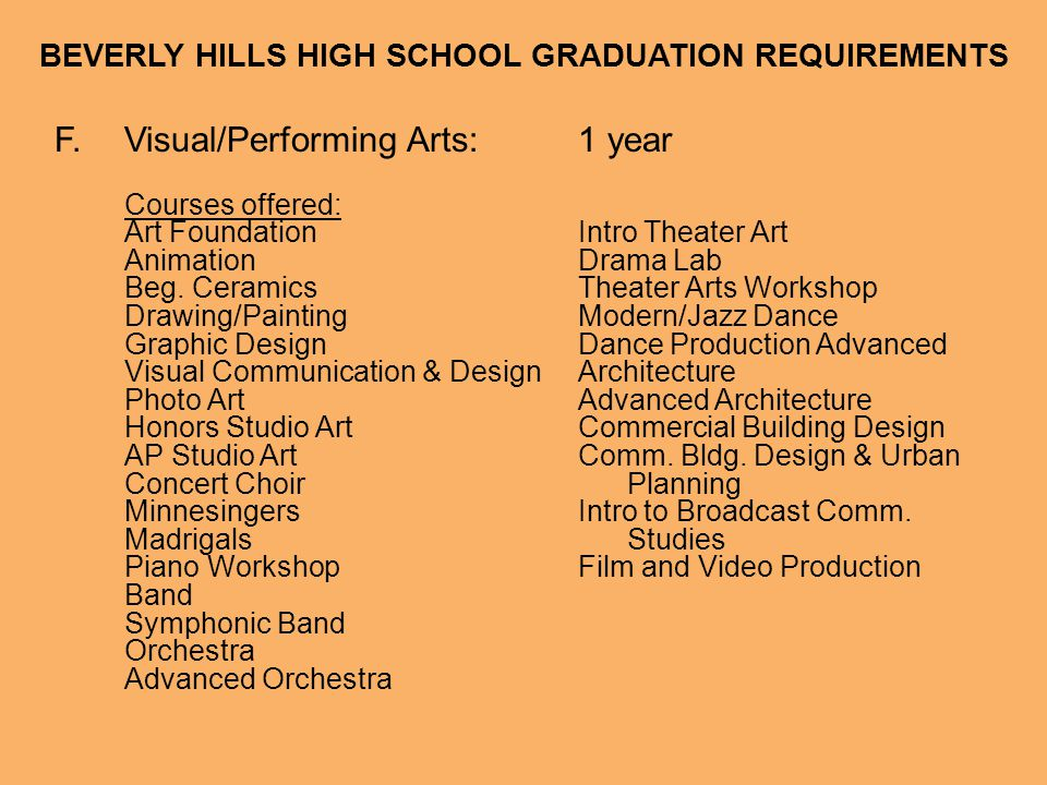 BEVERLY HILLS HIGH SCHOOL GRADUATION REQUIREMENTS F.Visual/Performing Arts:1 year Courses offered: Art FoundationIntro Theater Art AnimationDrama Lab