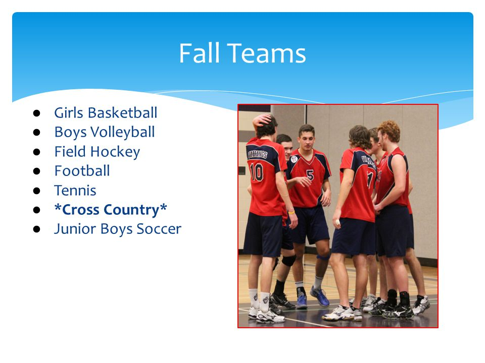 Fall Teams ● Girls Basketball ● Boys Volleyball ● Field Hockey ● Football ● Tennis ● *Cross Country* ● Junior Boys Soccer