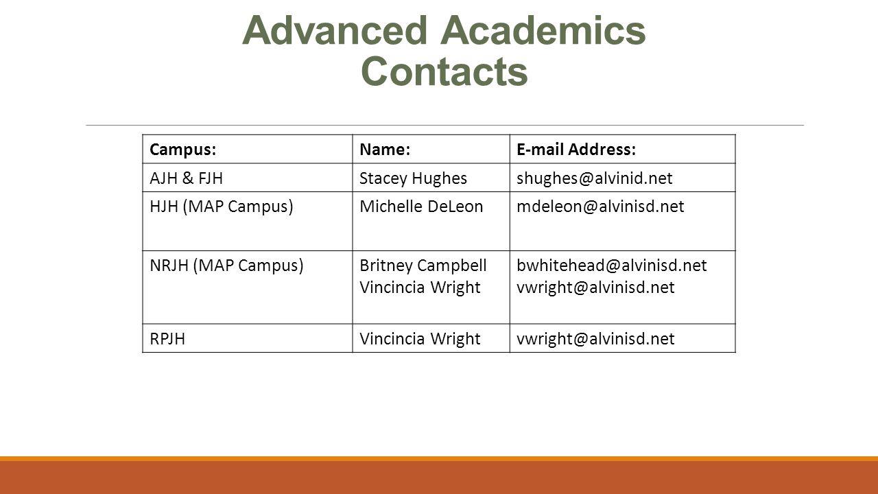 Advanced Academics Contacts Campus:Name:E-mail Address: AJH & FJHStacey Hughesshughes@alvinid.net HJH (MAP Campus)Michelle DeLeonmdeleon@alvinisd.net