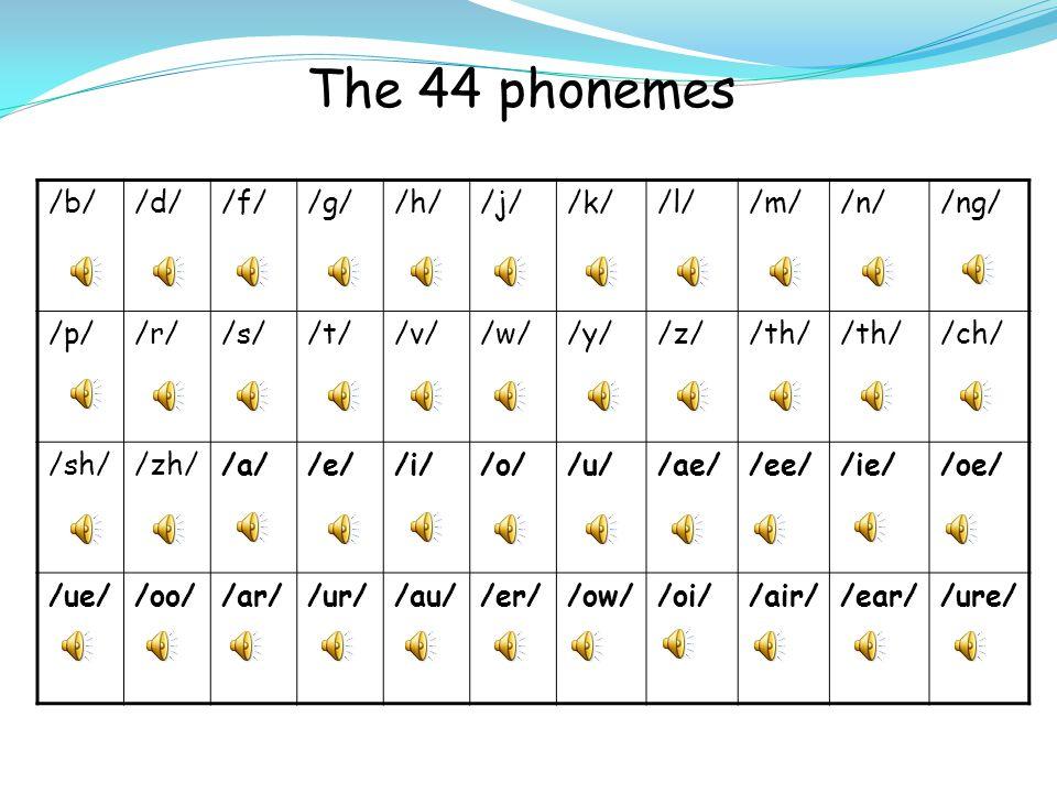 The 44 phonemes /b//d//f//g//h//j//k//l//m//n//ng/ /p//r//s//t//v//w//y//z//th/ /ch/ /sh//zh//a//e//i//o//u//ae//ee//ie//oe/ /ue//oo//ar//ur//au//er//ow//oi//air//ear//ure/