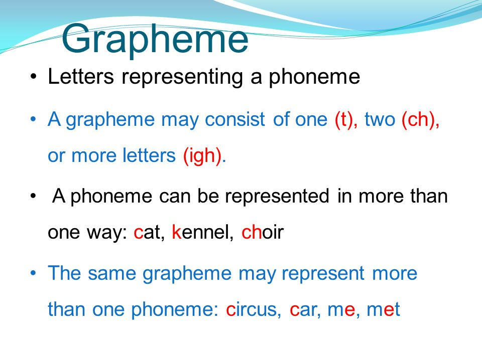Grapheme Letters representing a phoneme A grapheme may consist of one (t), two (ch), or more letters (igh).