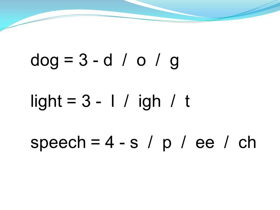 dog = 3 - d / o / g light = 3 - l / igh / t speech = 4 - s / p / ee / ch