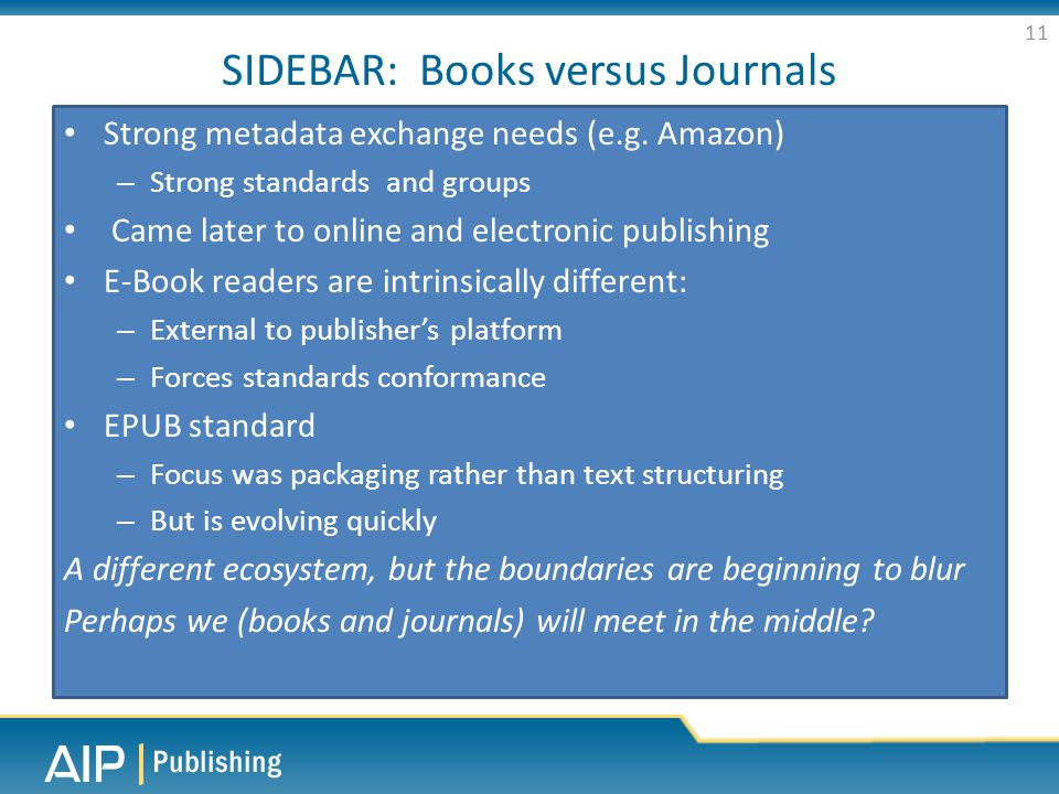 SIDEBAR: Books versus Journals Strong metadata exchange needs (e.g.