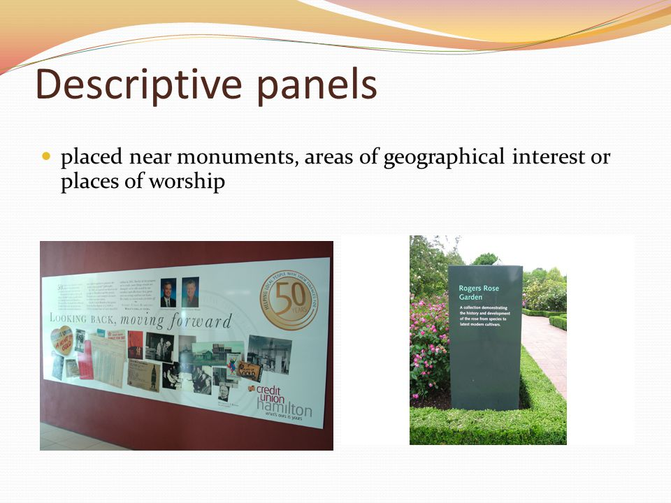 Descriptive panels placed near monuments, areas of geographical interest or places of worship