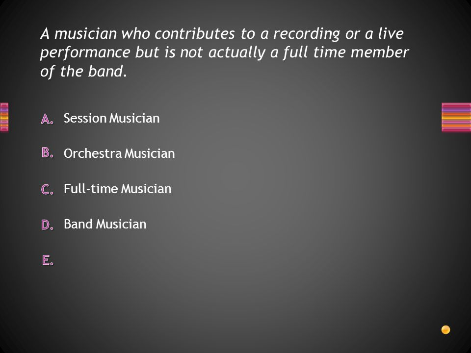 A musician who contributes to a recording or a live performance but is not actually a full time member of the band.