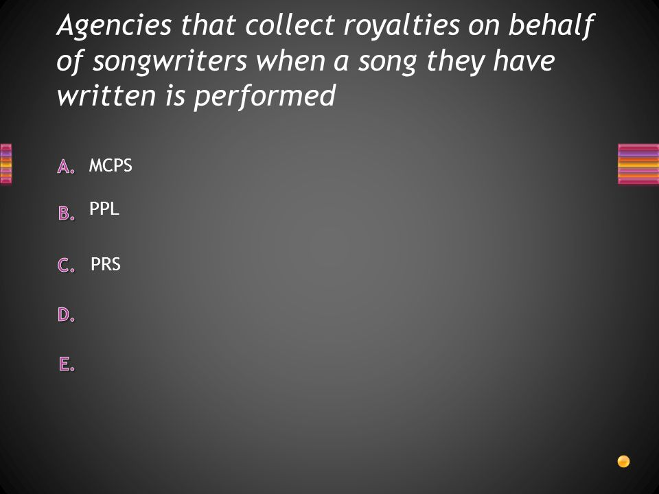 Agencies that collect royalties on behalf of songwriters when a song they have written is performed PPL MCPS PRS