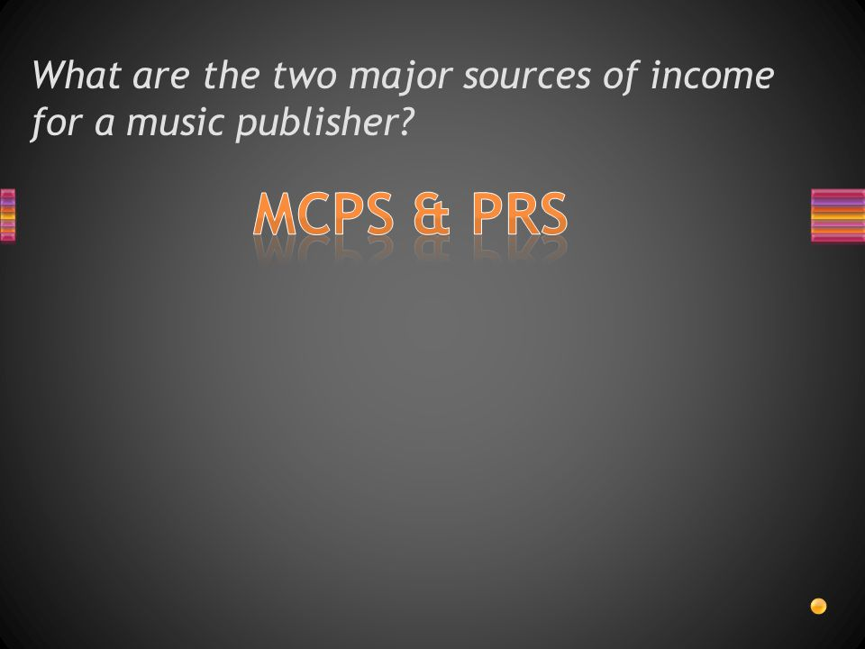 What are the two major sources of income for a music publisher?