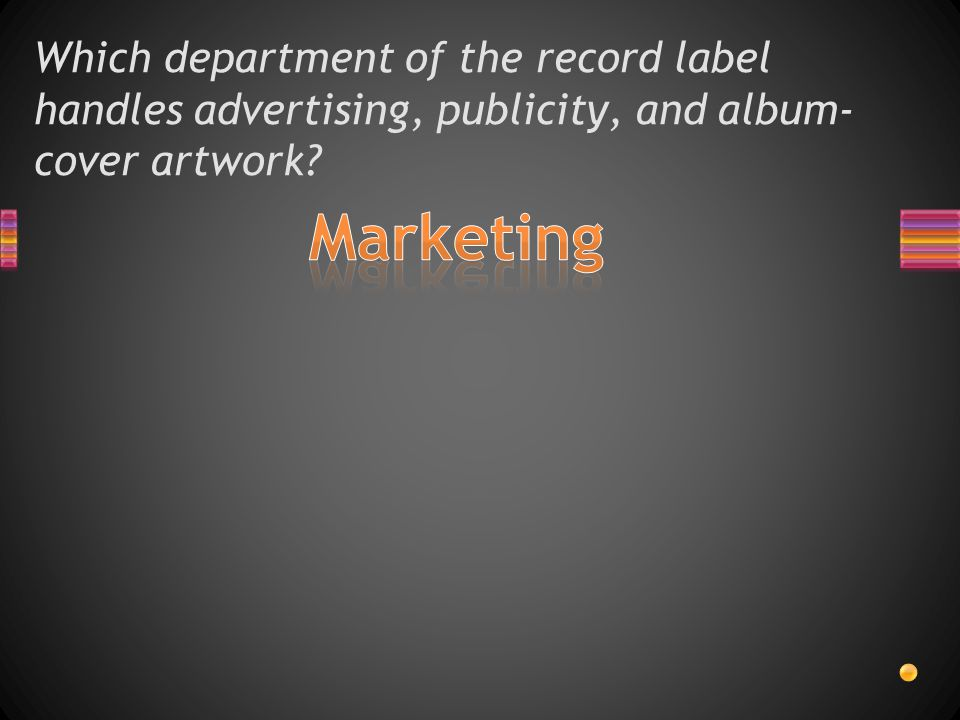 Which department of the record label handles advertising, publicity, and album- cover artwork?