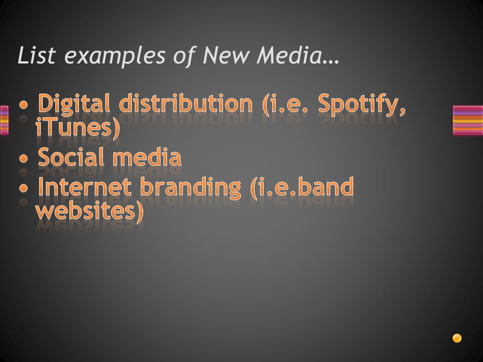 List examples of New Media…