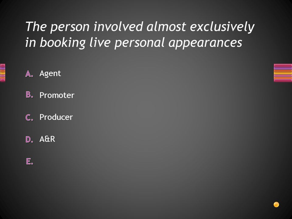 The person involved almost exclusively in booking live personal appearances A&R Producer Promoter Agent