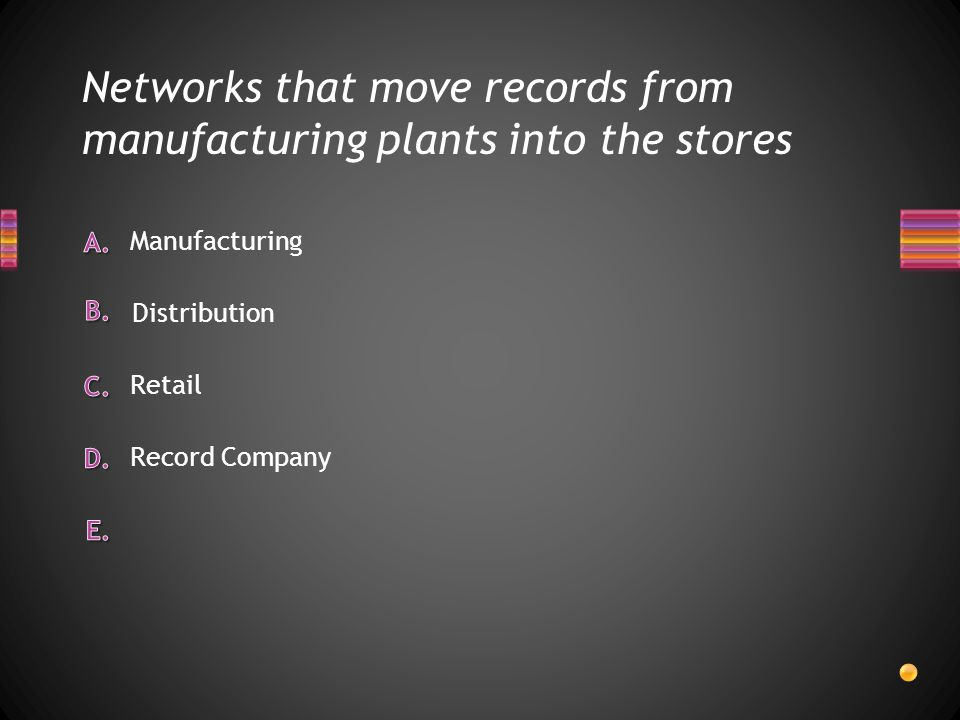 Networks that move records from manufacturing plants into the stores Record Company Retail Manufacturing Distribution