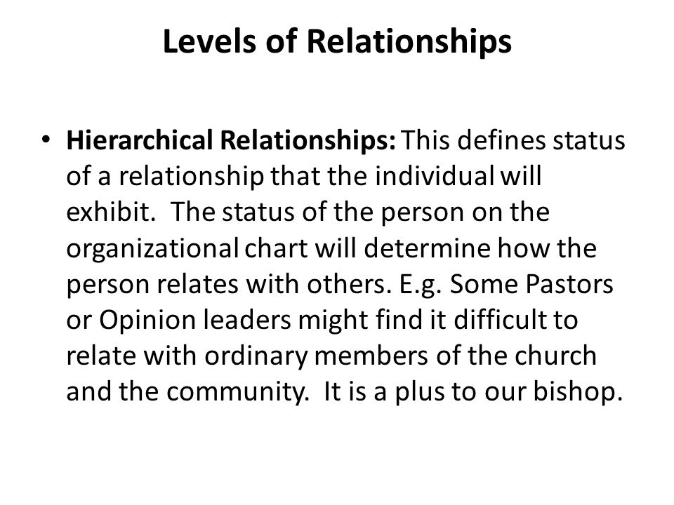 Levels of Relationships Hierarchical Relationships: This defines status of a relationship that the individual will exhibit.
