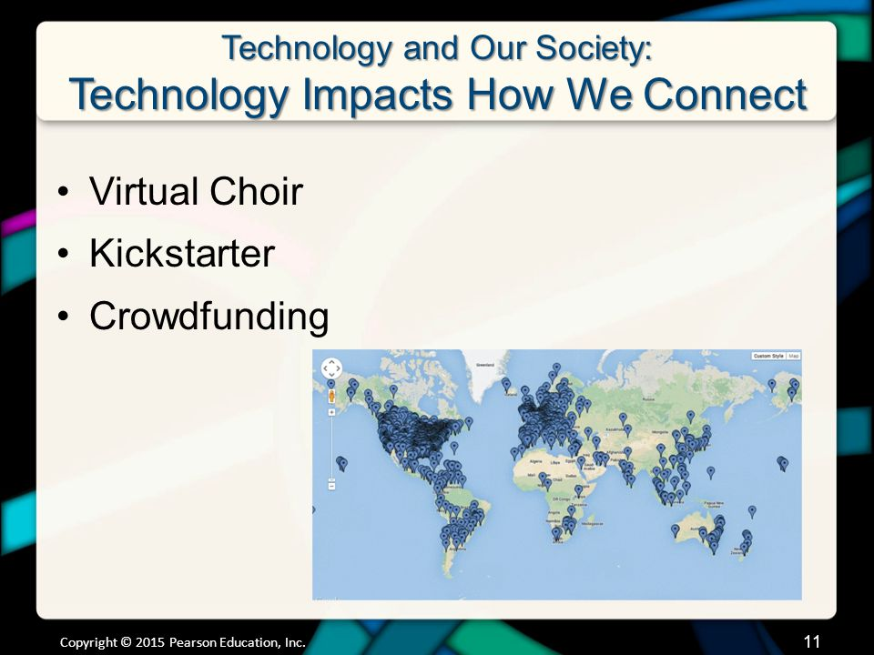 Technology and Our Society: Technology Impacts How We Connect Virtual Choir Kickstarter Crowdfunding Copyright © 2015 Pearson Education, Inc.